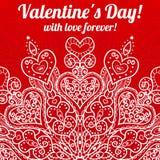 Приветствие дня валентинки вектора кружевное богато украшенное Стоковые Изображения RF