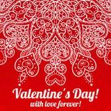 Приветствие дня валентинки вектора кружевное богато украшенное Стоковое Изображение