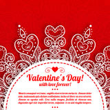 Приветствие дня валентинки вектора кружевное богато украшенное Стоковая Фотография RF