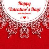 Приветствие дня валентинки вектора кружевное богато украшенное Стоковая Фотография
