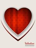 Приветствие дня валентинки с разрывать красную предпосылку Стоковые Изображения