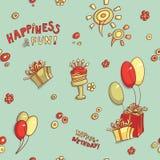 Приветствие дня рождения картины смешного вектора шаржа безшовные, счастье и потеха, нарисованное вручную ретро, торт с свечами Стоковая Фотография RF