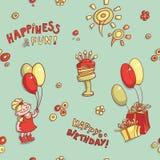 Приветствие дня рождения картины смешного вектора шаржа безшовные, счастье и потеха, нарисованное вручную ретро, торт с свечами,  Стоковые Изображения RF
