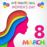 Приветствие дня счастливых женщин или карточка подарка бесплатная иллюстрация