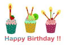 приветствие пирожня поздравительой открытки ко дню рождения счастливое Стоковые Фото
