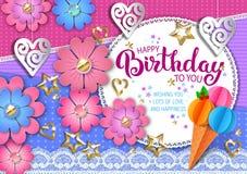приветствие поздравительой открытки ко дню рождения счастливое иллюстрация вектора