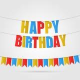 приветствие поздравительой открытки ко дню рождения счастливое Пестротканые флаги, письма и ленты вектор Стоковое фото RF