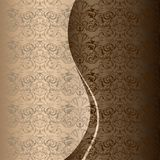 Приветствие, приглашение, свадьба, карточка в стиле года сбора винограда в золоте, шоколаде, бронзовых тенях иллюстрация штока