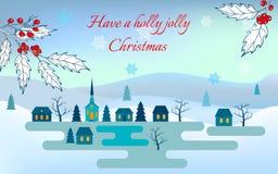 приветствие рождества карточки зима улицы людей ночи ландшафта гуляя Стоковые Фото