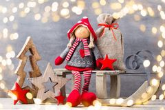 приветствие рождества карточки Предпосылка гнома Noel Символ рождества Стоковые Изображения