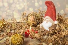 приветствие рождества карточки Предпосылка гнома Noel Символ рождества Стоковое Изображение RF