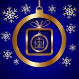Приветствие рождества голубого золота вектора декоративное иллюстрация вектора