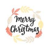 приветствие рождества карточки веселое Литерность руки Стоковые Изображения RF