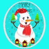 приветствие рождества карточки веселое Снеговик в крышке и шраме рождества иллюстрация штока