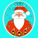 приветствие рождества карточки веселое claus santa иллюстрация вектора