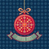 приветствие рождества карточки Орнамент украшает Стоковая Фотография RF