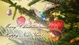 приветствие рождества карточки шариков веселое Стоковое Изображение RF