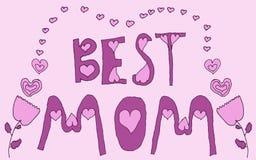 Приветствие самого лучшего пинка мамы флористическое Стоковые Изображения RF