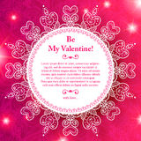 Приветствие сердца дня валентинки вектора кружевное бумажное Стоковая Фотография RF