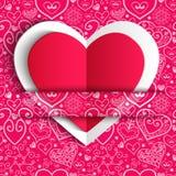 Приветствие сердца дня валентинки вектора кружевное бумажное Стоковые Изображения