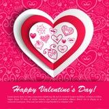 Приветствие сердца дня валентинки вектора кружевное бумажное Стоковые Фото