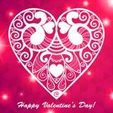 Приветствие сердца дня валентинки вектора кружевное бумажное Стоковые Изображения RF