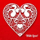 Приветствие сердца дня валентинки вектора кружевное бумажное Стоковое Изображение
