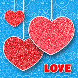Приветствие сердца дня валентинки вектора кружевное бумажное Стоковое Фото