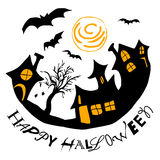 Приветствие хеллоуина с домами и летучими мышами иллюстрация штока