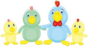 приветствиям семьи пасхи цыпленка характеров открытка иллюстрации жизнерадостным счастливая символизирует Стоковое Фото