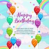 приветствия дня рождения счастливые Поздравительная открытка с красочными воздушными шарами, облаками и радугой стоковое фото rf