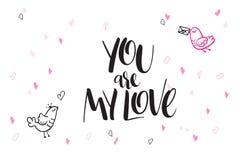 Приветствия дня ` s валентинки литерности руки вектора отправляют СМС - вы моя влюбленность - с формами и птицами сердца Стоковые Фотографии RF