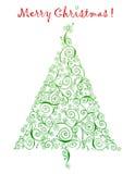 Приветствия рождественской елки Curlicue иллюстрация вектора