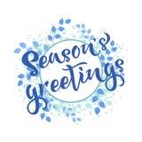 Приветствия сезонов вручают запись текста цитаты Каллиграфия, дизайн литерности Оформление для поздравительной открытки, плаката, бесплатная иллюстрация