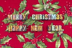 Приветствовать веселый letterpress сезона Рождества стоковые фотографии rf