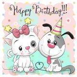Приветствовать поздравительую открытку ко дню рождения с милым котом и собакой иллюстрация штока