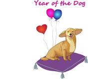 Приветствовать heppy год желтой собаки Стоковая Фотография