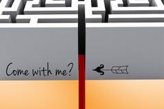 приведенный с мной текст над входом лабиринта Стоковая Фотография
