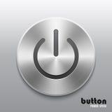 Приведите кнопку в действие с почищенной щеткой металлом алюминиевой текстурой хрома Стоковые Фотографии RF