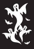 Привидения Halloween с летучими мышами Стоковые Изображения RF