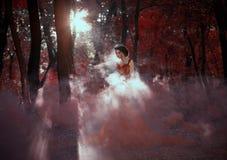 Привлекательная девушка в красном платье Стоковые Фото