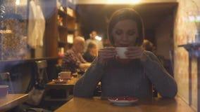 Привлекательная женщина отдыхая в уютной кофейне выпивая горячий приправленный напиток акции видеоматериалы