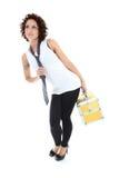 привлекательная излишек представляя женщина toolbox белая Стоковые Фото