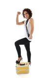 привлекательная излишек представляя женщина toolbox белая Стоковая Фотография RF