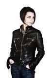 привлекательная кожа куртки способа брюнет Стоковая Фотография RF