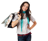 Привлекательная счастливая женщина вне ходя по магазинам Стоковое Изображение