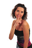 привлекательная shooshing женщина стоковое изображение rf