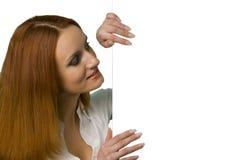 привлекательное дело смотря женщину знака сь Стоковое фото RF