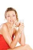 привлекательное стекло девушки шампанского Стоковое фото RF
