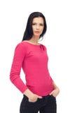 привлекательной изолированная кофточкой женщина джинсыов Стоковое Изображение RF